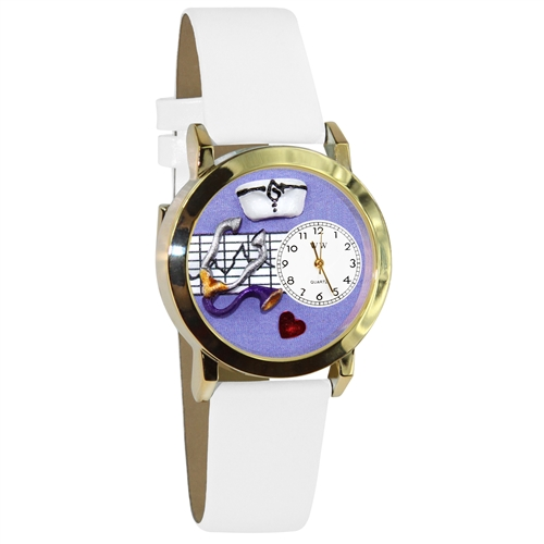 Nurse Purple Watch Small Gold Style