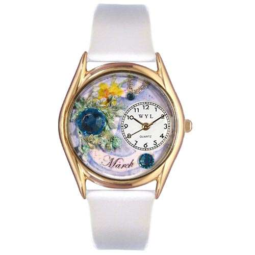 Birthstone Jewelry: March Birthstone Watch Small Gold Style