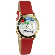 Christmas Snowman Watch Small Gold Style