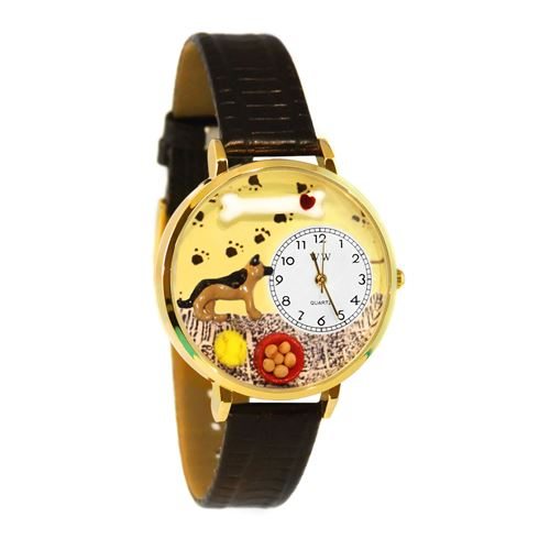 German Shepherd Watch in Gold (Large)