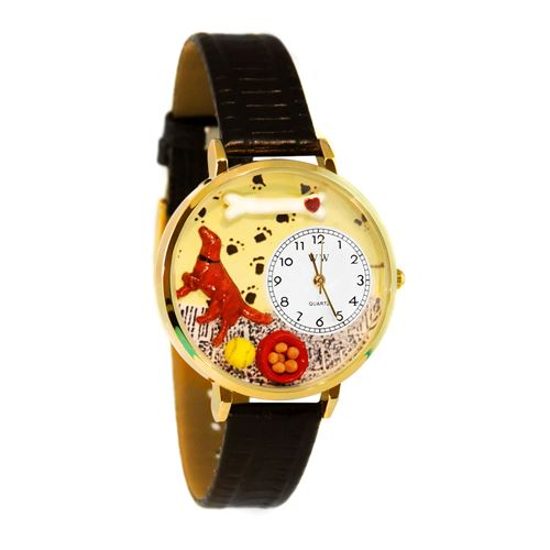 Irish Setter Watch in Gold (Large)