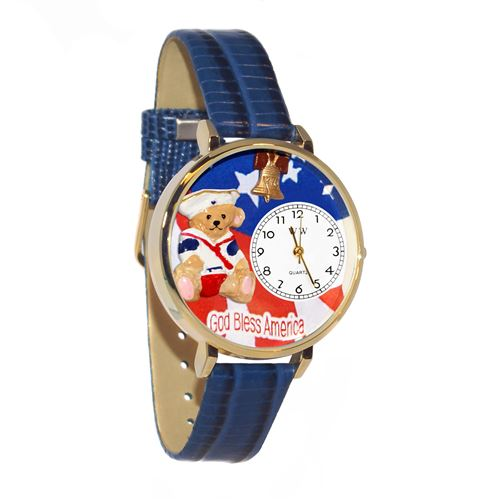 Patriotic Teddy Bear Watch in Gold (Large)