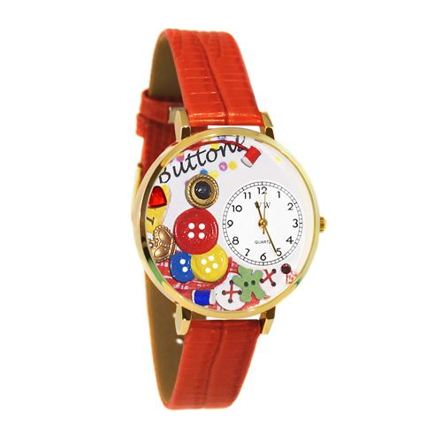 I Love Buttons Watch in Gold (Large)
