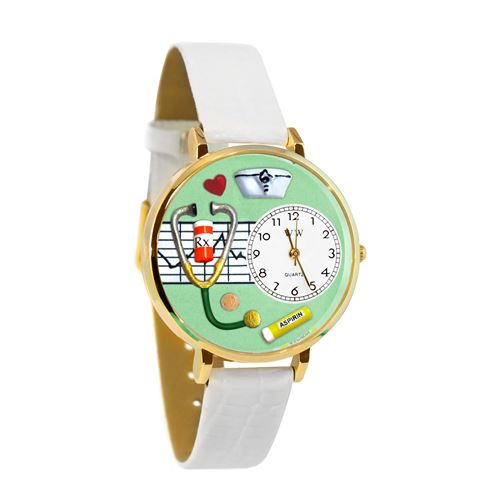 Nurse Green Watch in Gold (Large)