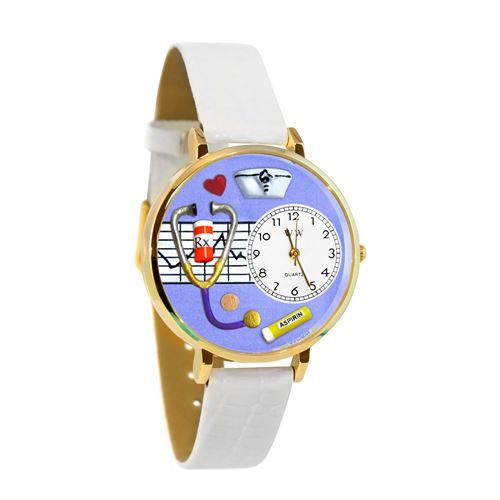 Nurse Purple Watch in Gold (Large)