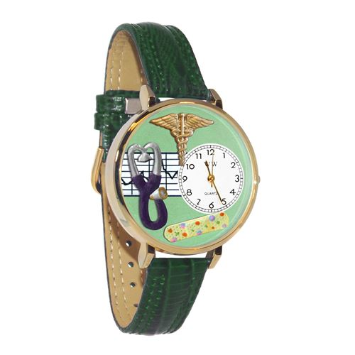 Nurse 2 Green Watch in Gold (Large)