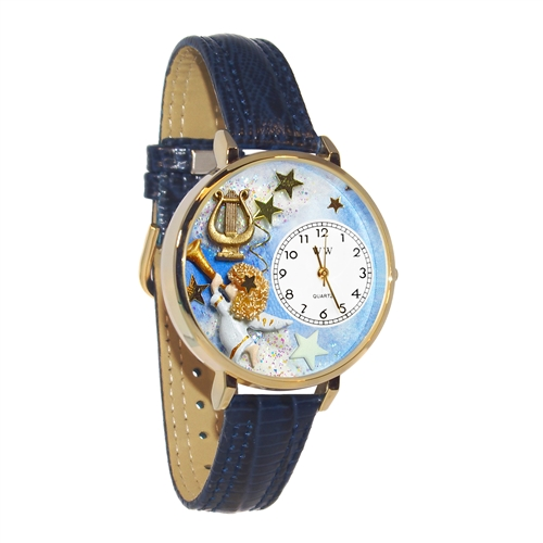 Angel with Harp Watch in Gold (Large)