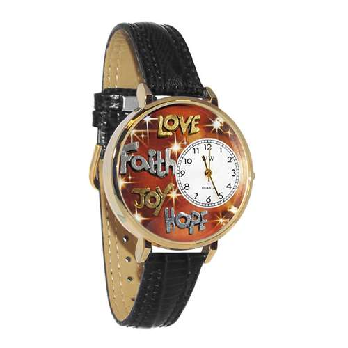 Faith Hope Love Joy Watch in Gold (Large)
