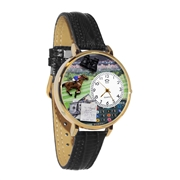 Horse Racing Watch in Gold (Large)