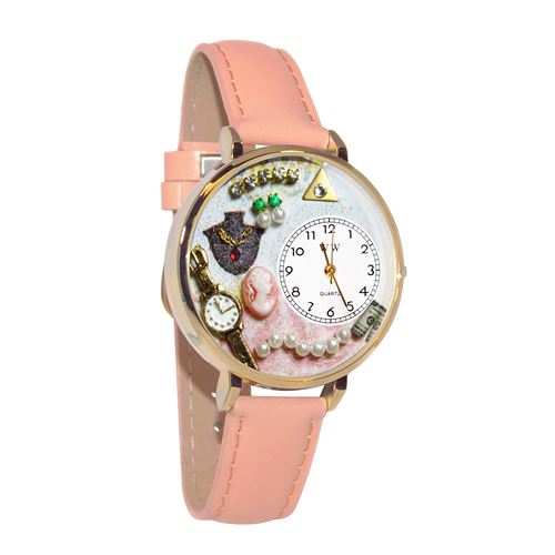 Jewelry Lover Pink Pearls Watch in Gold (Large)
