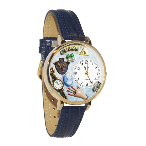 Jewelry Lover Blue Watch in Gold (Large)
