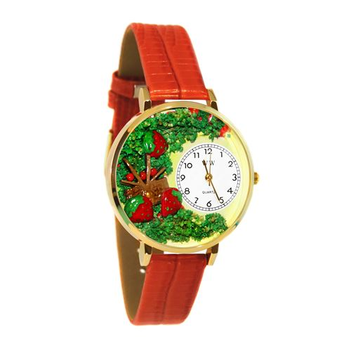 Strawberries Watch in Gold (Large)