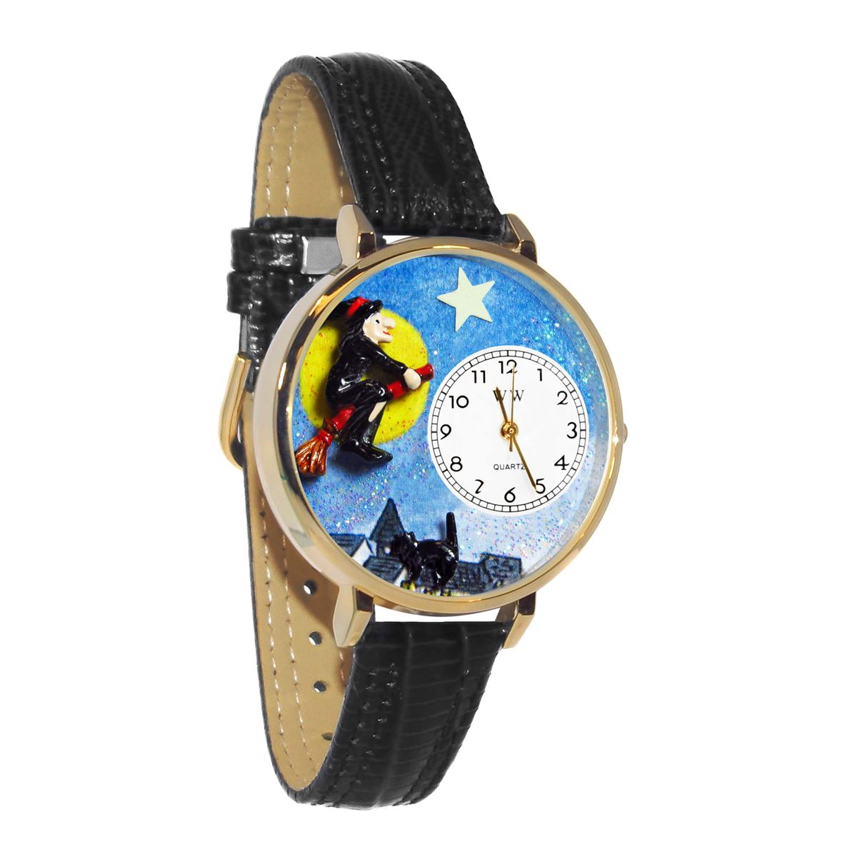 halloween flying witch watch in gold large