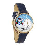 Christmas Snowman Watch in Gold (Large)