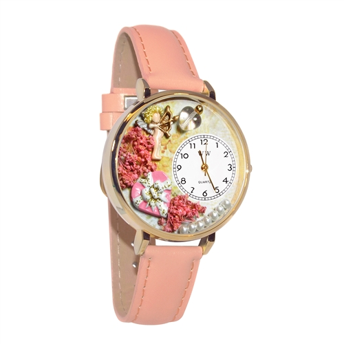 Valentine's Day Watch (Pink) in Gold (Large)