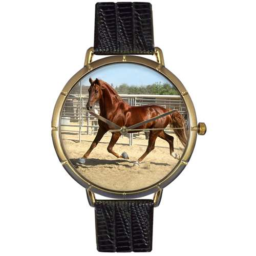American Saddlebred Horse Print Watch in Gold Large