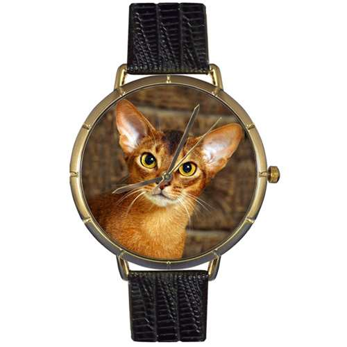 Abyssinian Cat Print Watch in Gold Large