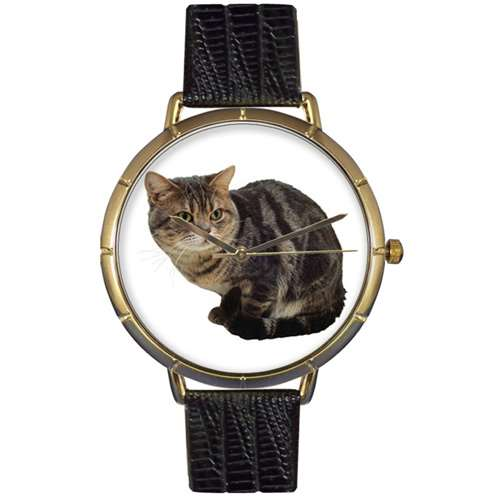 American Shorthair Cat Print Watch in Gold Large