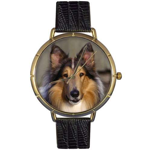 Collie Print Watch in Gold Large
