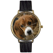 Beagle Print Watch in Gold Large