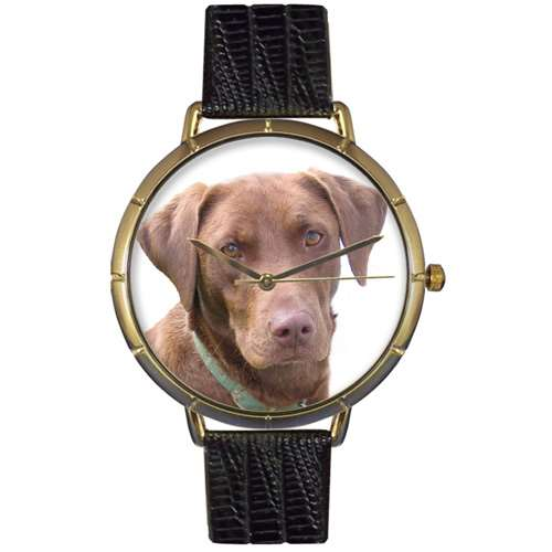 Chocolate-Labrador Retriever Print Watch in Gold Large