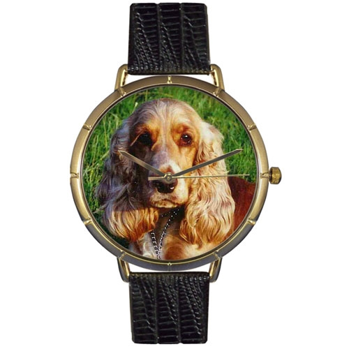 Cocker Spaniel Print Watch in Gold Large