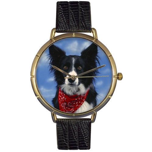 Border Collie Print Watch in Gold Large