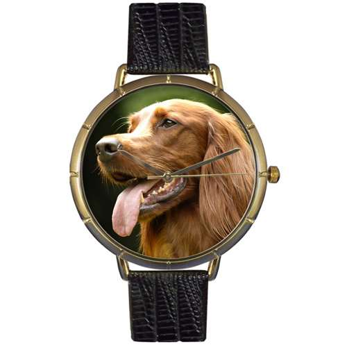 Irish Setter Print Watch in Gold Large