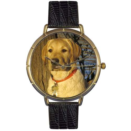 Yellow-Labrador Retriever Print Watch in Gold Large