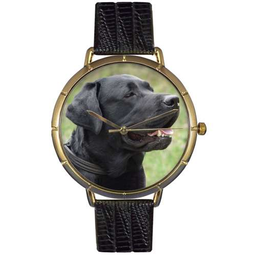 Black-Labrador Retriever Print Watch in Gold Large
