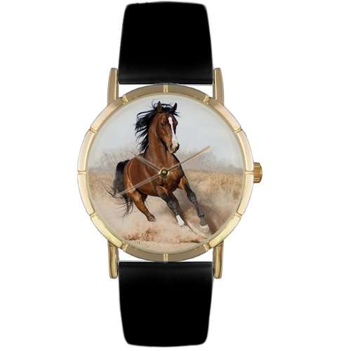 Arabian Horse Print Watch in Gold Small