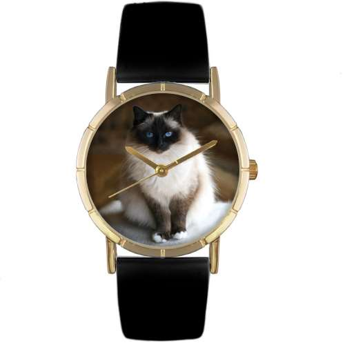 Birman Cat Print Watch in Gold Small
