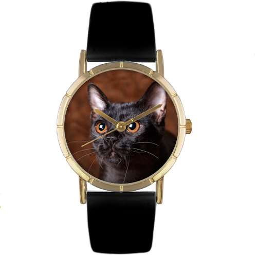 Bombay Cat Print Watch in Gold Small