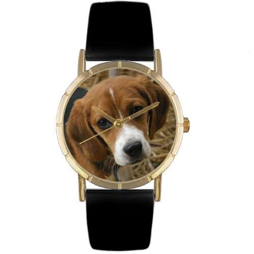 Beagle Print Watch in Gold Small