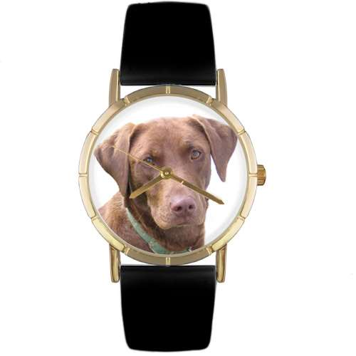 Chocolate-Labrador Retriever Print Watch in Gold Small