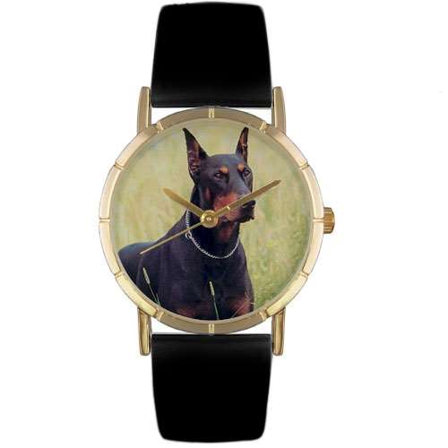Doberman Print Watch in Gold Small