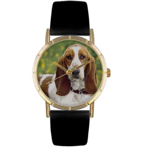 Bassett Hound Print Watch in Gold Small