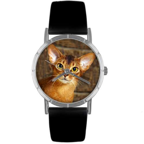 Abyssinian Cat Print Watch in Silver Small