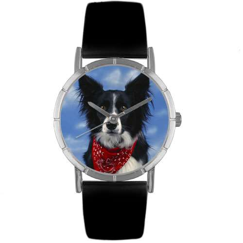 Border Collie Print Watch in Silver Small