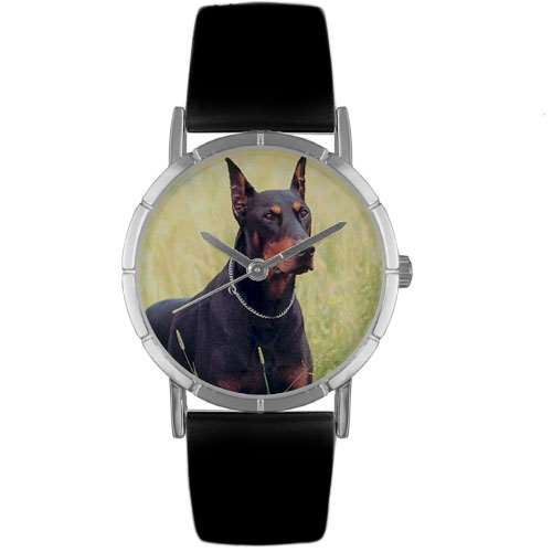 Doberman Print Watch in Silver Small