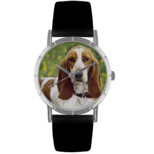 Bassett Hound Print Watch in Silver Small