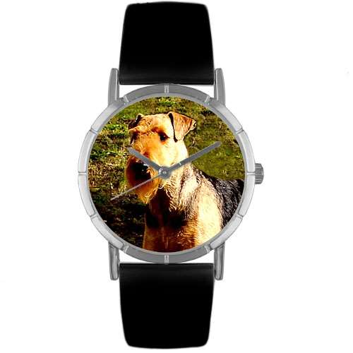 Airedale Terrier Print Watch in Silver Small