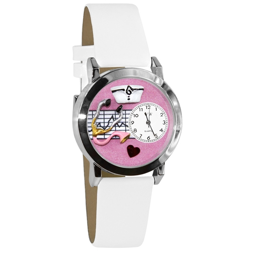 Nurse Pink Watch Small in Silver