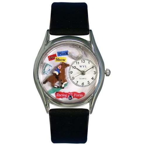 Horse Racing Watch Small Silver Style
