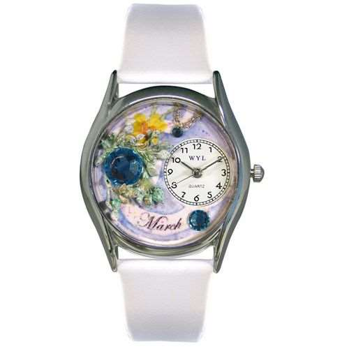 Birthstone Jewelry: March Birthstone Watch Small Silver Style