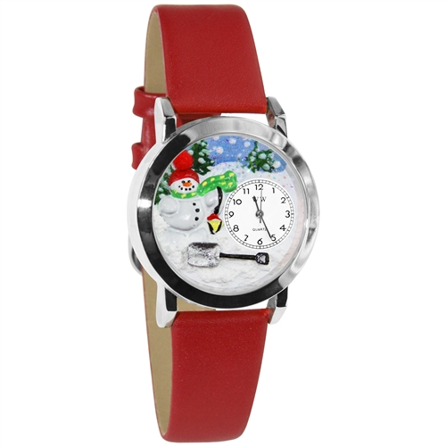 Christmas Snowman Watch Small Silver Style
