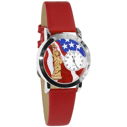 July 4th Patriotic Watch Small Silver Style