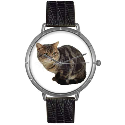 American Shorthair Cat Print Watch in Silver Large