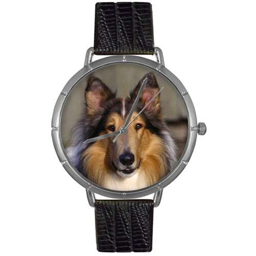 Collie Print Watch in Silver Large