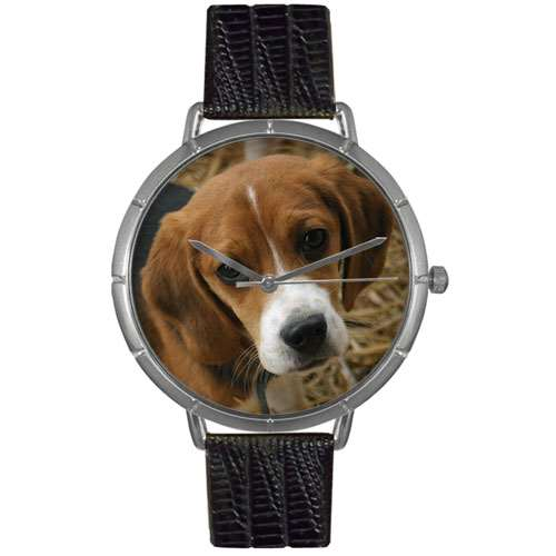 Beagle Print Watch in Silver Large